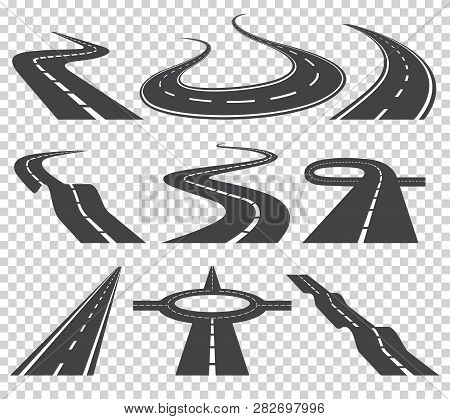 Curved Roads Vector Set. Asphalt Road Or Way And Curve Road Highway. Winding Curved Road Or Highway