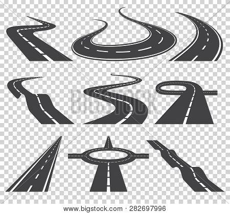 Curved Roads Vector Set. Asphalt Road Or Way And Curve Road Highway. Winding Curved Road Or Highway