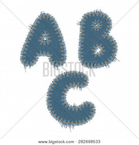 Vector Photo Realistic Illustration Of Torn Denim Patches Isolated On White Background. A, B, C Lett