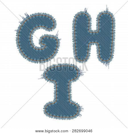 Vector Photo Realistic Illustration Of Torn Denim Patches Isolated On White Background. G, H, I Lett