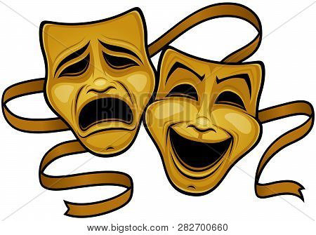 Vector Illustration Of Gold Comedy And Tragedy Theater Masks With A Gold Ribbon.