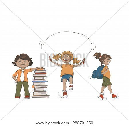 Set Of Kids Activities Illustrations - Learning, Hiking And Skipping