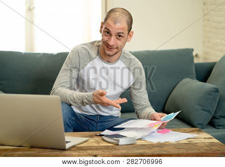 Attractive Successful Entrepreneur Man With Laptop Accounting Finance Happy Free Of Debts