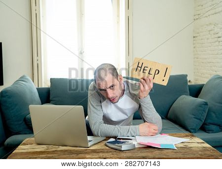 Stressed Man Asking For Help In Online Banking And Accounting Home And Credit Card Expenses