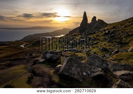 The Landscape Around The Old Man Of Storr And The Storr Cliffs, Isle Of Skye, Scotland, United Kingd