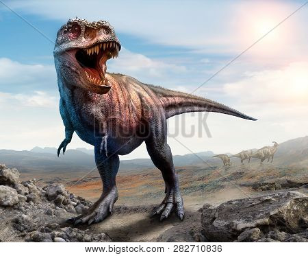Tyrannosaurus Rex From The Cretaceous Era Scene 3d Illustration