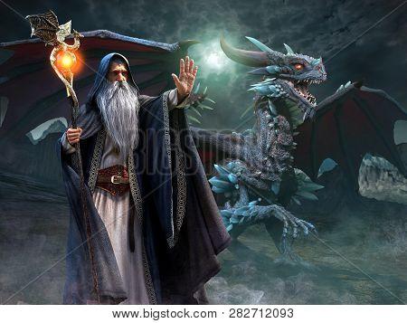 Wizard And Dragon Night Scene 3d Illustration