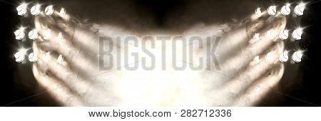 Musical Background.set Of Lights. Concept Of Live Music And Concerts.stage Lights And Fog Or Misty I