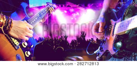 Live Music And Concert.guitarist And Drummer.night Entertainment And Festival Events.musical Perform