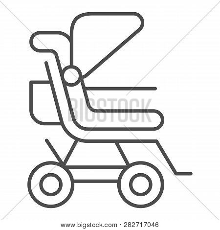 Stroller Thin Line Icon. Baby Pushchair Vector Illustration Isolated On White. Buggy Outline Style D