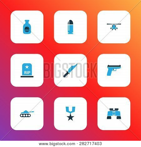 Combat Icons Colored Set With Panzer, Firearm, Cutter And Other Binoculars Elements. Isolated  Illus