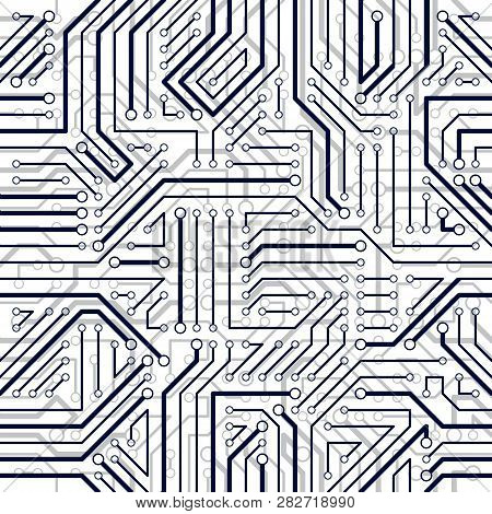 Microchip Board Seamless Pattern, Vector Background. Circuit Board Technology Electronics Repeat Des