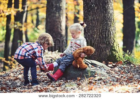 Portrait Of Two Little Children. Friendship And Support.