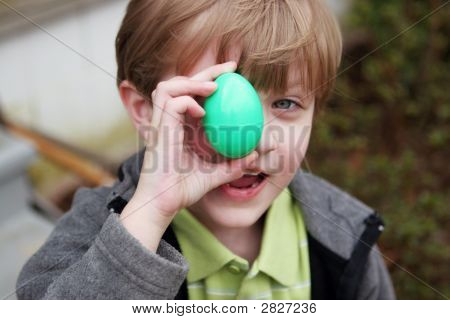 Boy With A Green Easter Egg