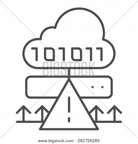 Cloud cyber attack thin line icon. Ddos server hack vector illustration isolated on white. Server attack outline style design, designed for web and app. Eps 10. poster