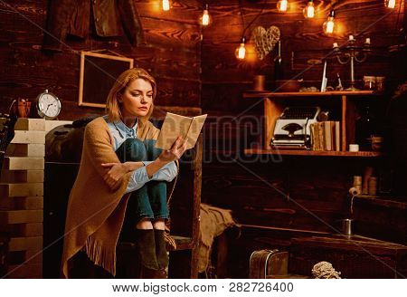 I Read Because It Is Relaxing. Woman Student Enjoy Reading Literacy. Knowledge And Reading Comprehen