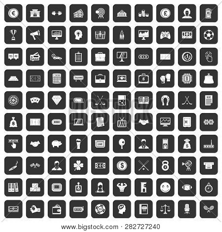100 Sweepstakes Icons Set In Black Color Isolated Illustration