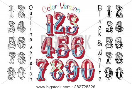 Numbers Colourful Set In Vintage Retro Style