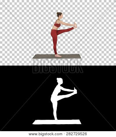 Beautiful Young Fit Woman In Sportswear Doing Sport Exercise, Bending In Variation Of Utthita Hasta