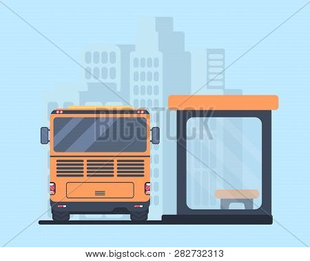 Travel Bus And Bus Stop. Back View Vector Illustration