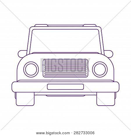 Sport Utility Vehicle. Crossover Suv. Urban Car. Front View Vector Illustration. Line Art Style.
