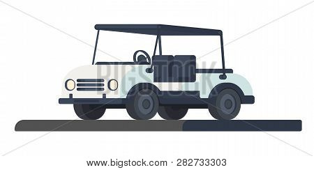 Golf Club Cart. Transport For Movement During The Game And Competition At The Golf Course. Golf Cart