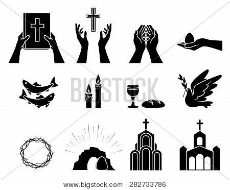Religious Christian Symbols And Signs. Set Of Icons. Crown Of Thorns, Church, Fish, Candles, Bread A