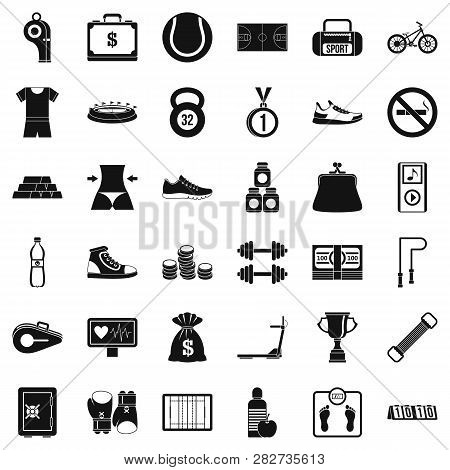 Basketball Uniform Icons Set. Simple Style Of 36 Basketball Uniform Icons For Web Isolated On White