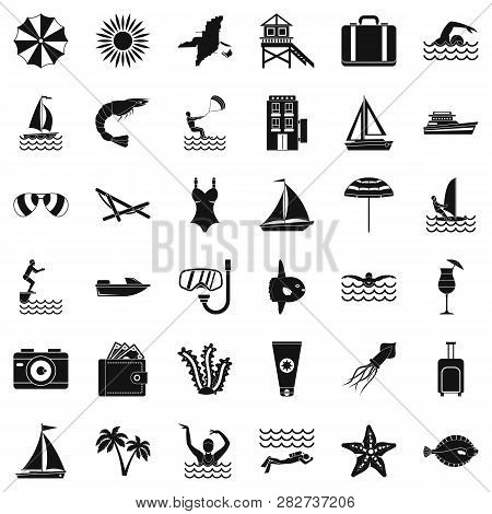 Summer Rest Icons Set. Simple Style Of 36 Summer Rest Icons For Web Isolated On White Background