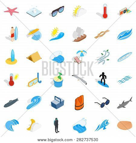 Summer Rest Icons Set. Isometric Style Of 36 Summer Rest Icons For Web Isolated On White Background