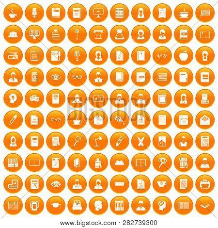 100 Reader Icons Set In Orange Circle Isolated Illustration