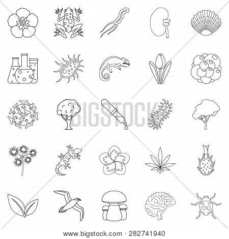Flora Icons Set. Outline Set Of 25 Flora Icons For Web Isolated On White Background