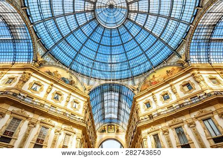 Milan, Italy - May 16, 2017: Inside The Galleria Vittorio Emanuele Ii In Milano. This Gallery Is One
