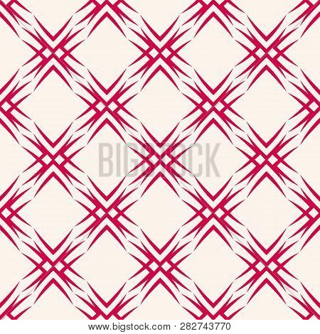 Vector Geometric Seamless Pattern. Elegant Christmas Background. Traditional Nordic Motif. Red And W