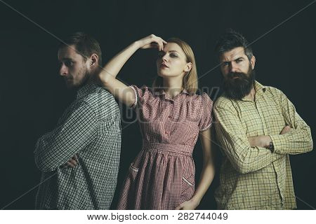 Their Favorite Timeless Style. Sensual Woman And Men In Retro Style. Fashion Models Wearing Vintage