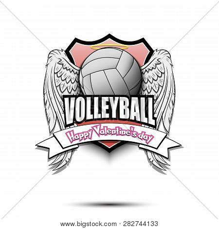 Happy Valentine Day. Volleyball Logo Template Design. Volleyball Ball With Wings And Nimbus. Pattern