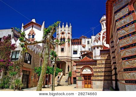 Church With Beautiful Architecture And Garden. Lloret De Mar, Costa Brava Spain.