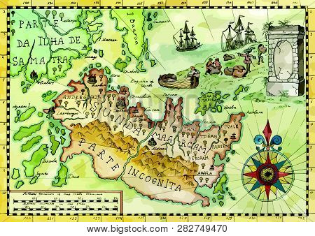 Vintage Pirate Map With Fantasy Land, Old Sailing Ships, Compass. Pirate Adventures, Treasure Hunt A