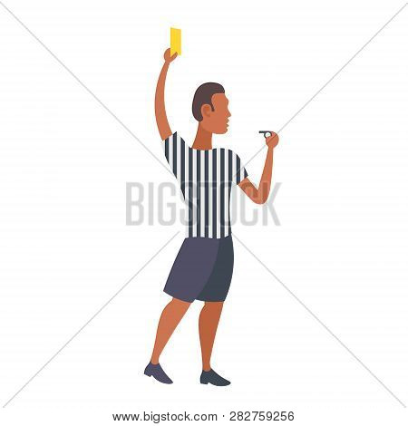 Man Professional Soccer Referee Showing Yellow Card To Player Football Match African American Arbitr