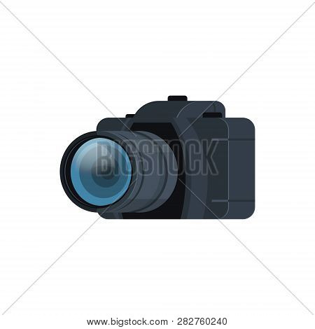 Realistic Modern Dslr Photo Camera Isolated Flat