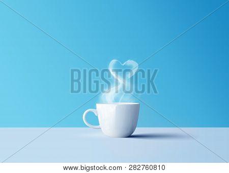 Hot Black Coffee In White Coffee Mug With Aroma Smoke And Love Heart