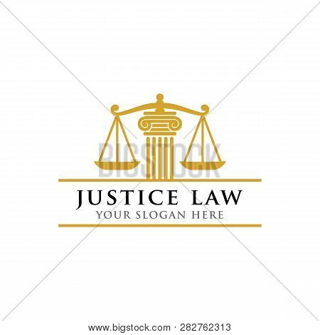 Justice Law Logo Design Template. Attorney Logo Vector Design. Scales And Pillar Of Justice Vector I