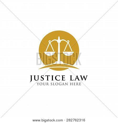 Scales Vector Illustration. Attorney Logo Vector Design. Justice Law Badge Logo Design Template