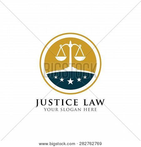 Justice Law Badge Logo Design Template. Emblem Of Attorney Logo Vector Design With Scales And Star I