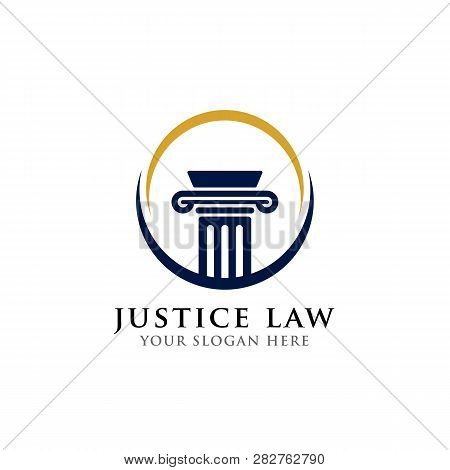 Pillar Logo Design Template. Justice Law And Attorney Logo Design Template In The Circle
