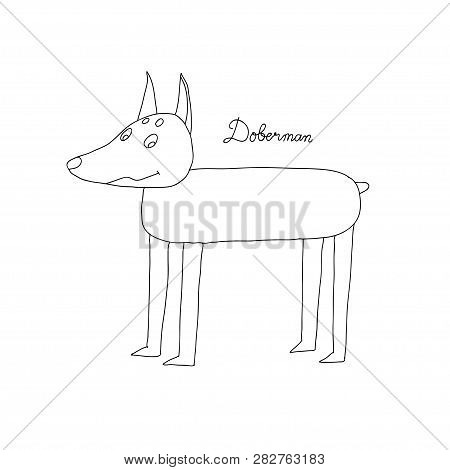 Doberman Dog Icon. Doberman Dog Linear Symbol Design From Dogs Collection. Simple Outline Element Ve