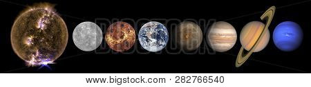 Solar System Planets And The Sun In A Row Isolated On Black. Mercury, Venus, Planet Earth, Mars, Jup