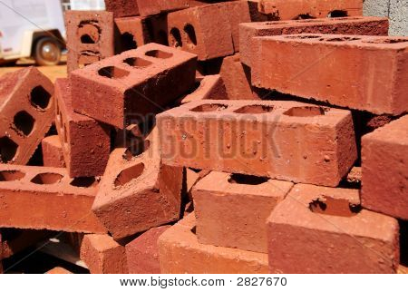 Stack Of Bricks At Construction Site