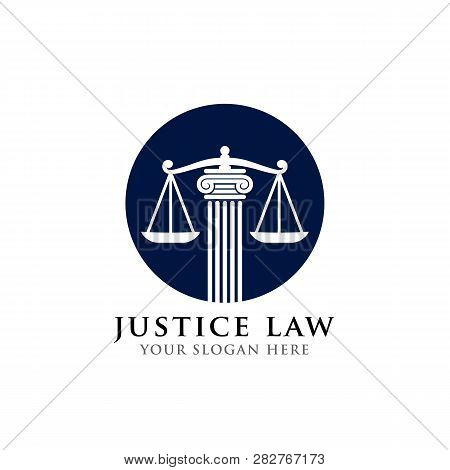 Justice Law Logo Design Template. Attorney Logo Vector Design. Scales And Pillar Vector Illustration