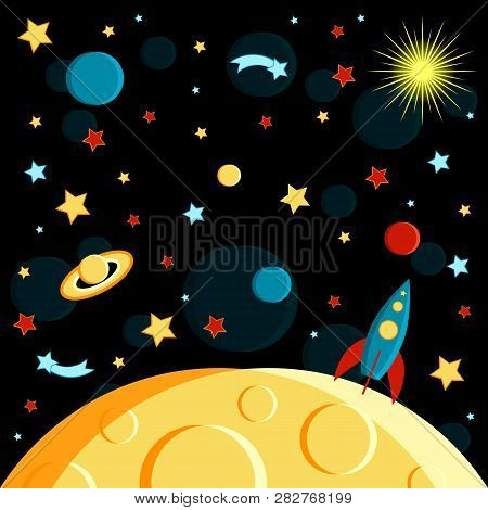 Surface Of The Moon, Rocket And Space View. Moon, Sun, Saturn, Earth, Other Planets, Rocket Stars Co